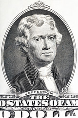 Thomas Jefferson close-up on the two U.S. dollar note.