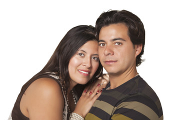 Attractive Hispanic Couple Portrait on White
