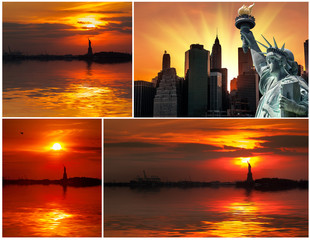 Statue of Liberty and the setting sun