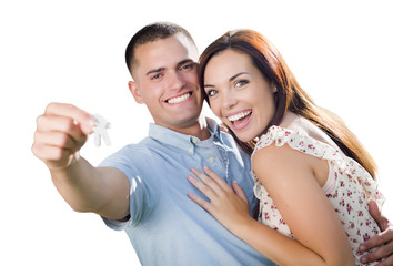 Military Couple with House Keys on White