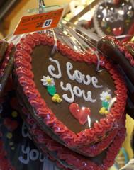 Heart shaped christmas gingerbread