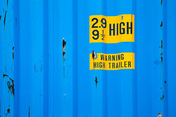 Background texture of blue metal cargo container
