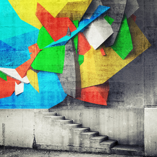 Stairway and abstract graffiti fragment on the wall © evannovostro