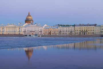 English Embankment, Neva and Saint Isaac's Cathedral, St. Peters