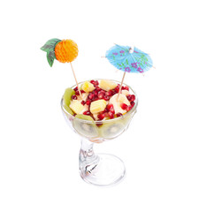 Fruit cup on white background