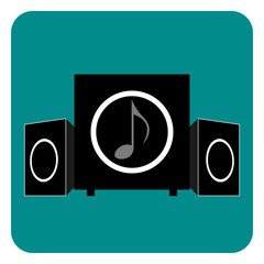 Soundsystem flat icon Dark cyan