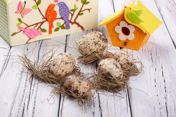 Easter eggs wooden background