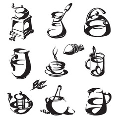 coffee and tea on a white background. icons, symbols