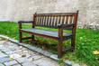 Wooden bench in autumn