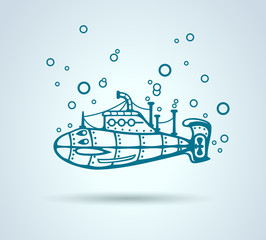 Submarine abstract, stylization, vector