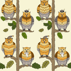 Seamless pattern with owls, oak-trees, leafs  and boughs