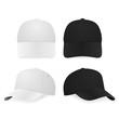 Two realistic white and black baseball caps - 79805791