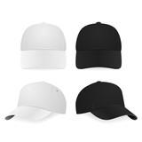 Fototapety Two realistic white and black baseball caps