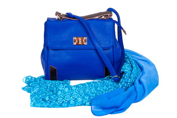 The blue bag with scarf on a white background
