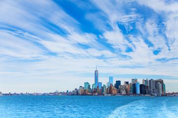 Panorama of Hudson and Manhattan skyscrapers
