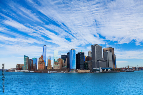 Foto op Aluminium Toronto Panorama of NYC Manhattan skyscrapers from water