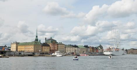 Panoramica puerto Estocolmo, Suecia