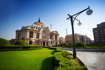Palace of fine arts in Mexico at morning