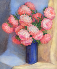Watercolor Still Life. Bouquet of pink asters in blue vase