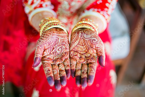 Leinwanddruck Bild henna wedding design