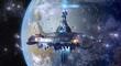 Leinwandbild Motiv Alien UFO mothership near Earth