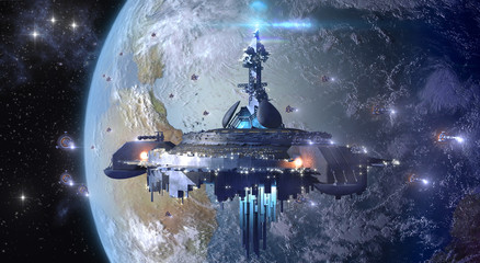 Alien UFO mothership near Earth