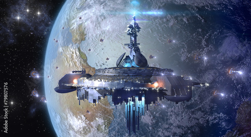 Poster Ruimtelijk Alien UFO mothership near Earth