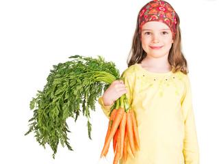 Kind mit Bund Karotten