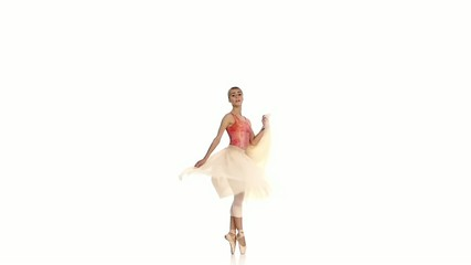 Young girl spinning and dancing ballet, on white background