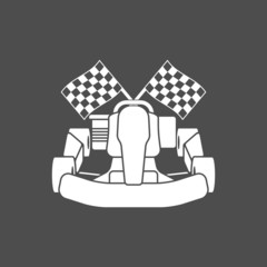 Go-kart and checkered flags