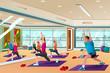 Men and women in a yoga class