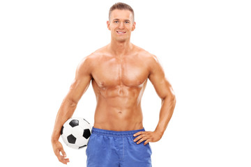 Handsome male football player