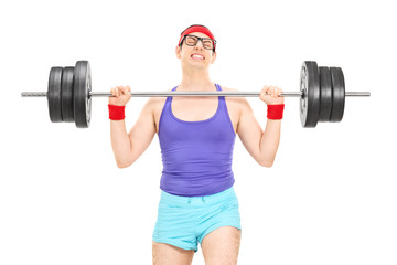 Nerdy athlete attempting to lift a weight