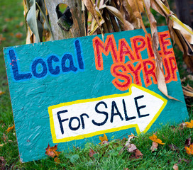 Local Maple Syrup for Sale - Colorful handmade sign