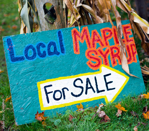 Local Maple Syrup for Sale - Colorful handmade sign - 79808948