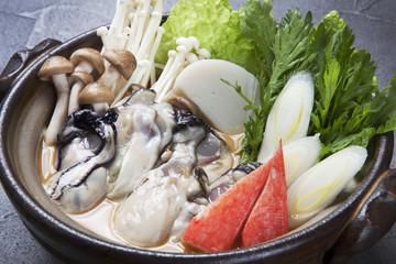 かきのみそ鍋  Miso pan Japanese foods of the oyster