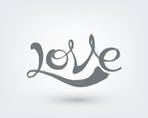 Love text design. Hand drawn word on white background