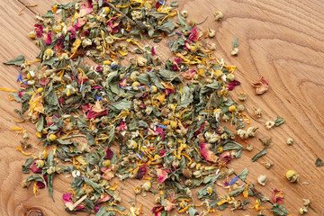 Dried flowers and herbs for tea