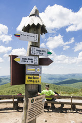 Oznaczenia szlaków na Małej Rawce, Bieszczady