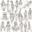 fashion between the years 1870-1970, drawings