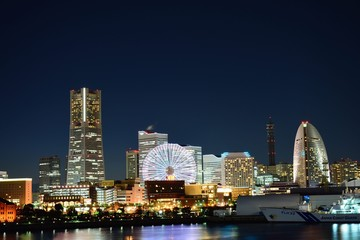 Yokohama harbor view at dusk