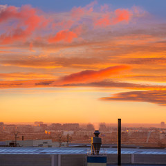 Chimney at sunrise in Paterna Valencia Spain