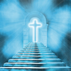 Glowing holy cross and staircase leading to heaven or hell