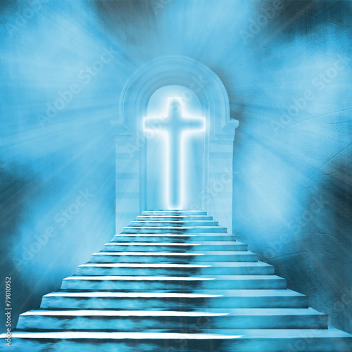 Glowing holy cross and staircase leading to heaven or hell - 79810952
