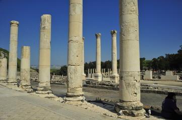 Stone columns at Bet She'an National Park, Israel