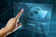 Leinwanddruck Bild - a woman finger transfer data on a digital screen