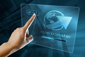a woman finger transfer data on a digital screen