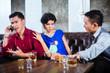 Asian man harassing woman in fancy nightclub