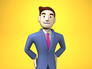 Waist Up Of Smiling Businessman On Yellow Background