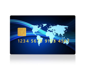 plastic credit card , isolated on a white background